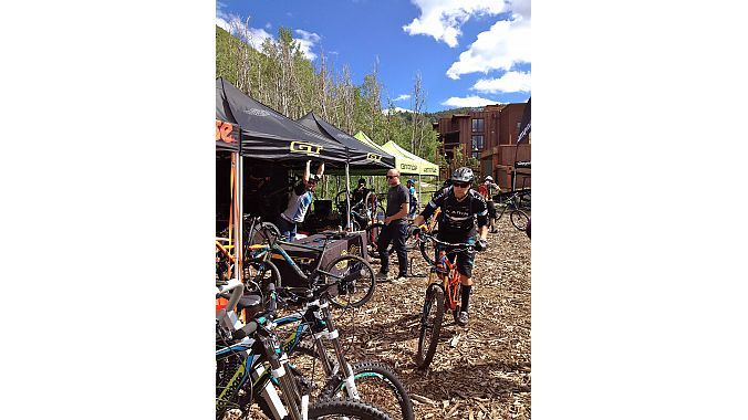 The demo area was open for business Wednesday. Editors were eager to try all the new product and check out the Deer Valley trails and scenic road routes.