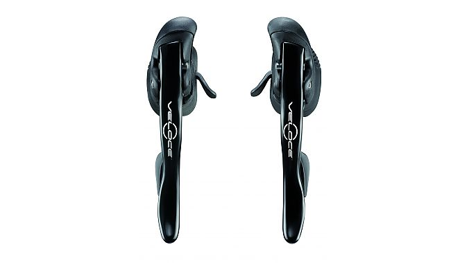 Veloce's aluminum Ergopower levers get the new angled thumbshifter as well.