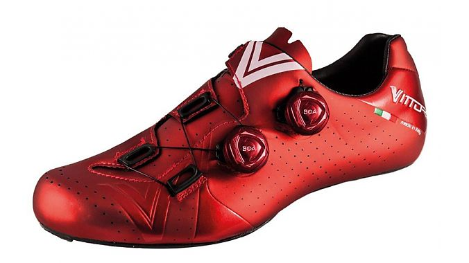 New for 2018, Vittoria's Velar road shoe is made in Italy and is available in four colors.