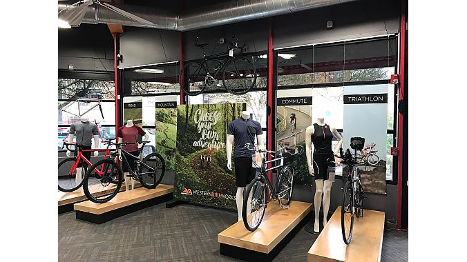 Retail designers at 3 Dots Design segmented Western Bikeworks' bike selection to make it easier to shop.