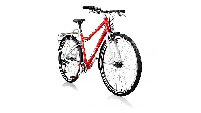 Woom's 6 City 26-inch model comes with an aluminum rear rack, a dynamo hub and LED front and rear lights. It retails for $599.