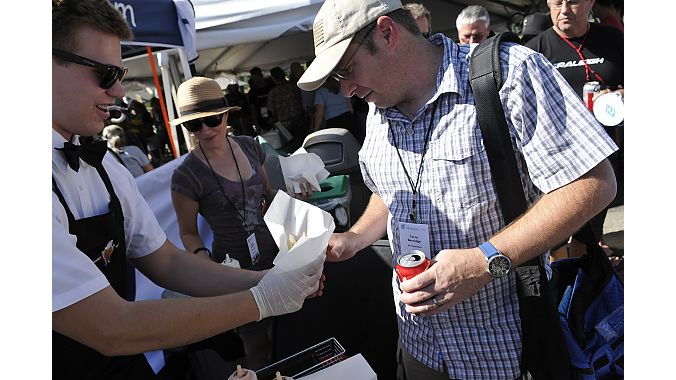 DealerCamp Raleigh Party getting gourmet fries from Salt Lake City's Saturday's Waffle trailer: Terry Berridge (Berridge Bikes, Texarkana, TX
