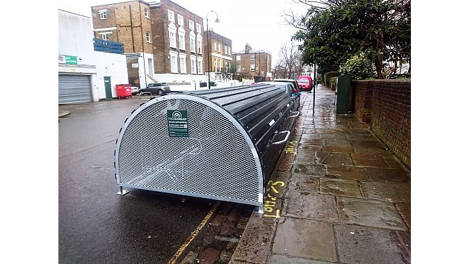 This CycleHoop Shelter is located in London.