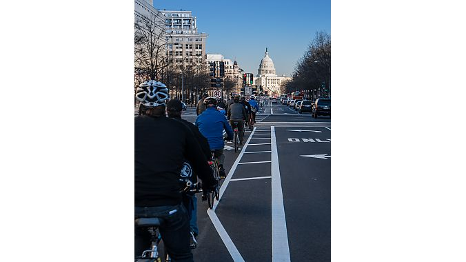 Twenty riders toured DC's green lanes on Monday. Photos courtesy Bikes Belong