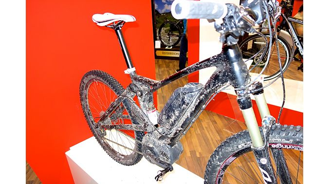 Another brand that used to be popular in the U.S., Centurian, showed this electric full suspension mountain bike at Eurobike. The suspension was designed to minimize the motor's effect on its action, a new concern for suspension designers.