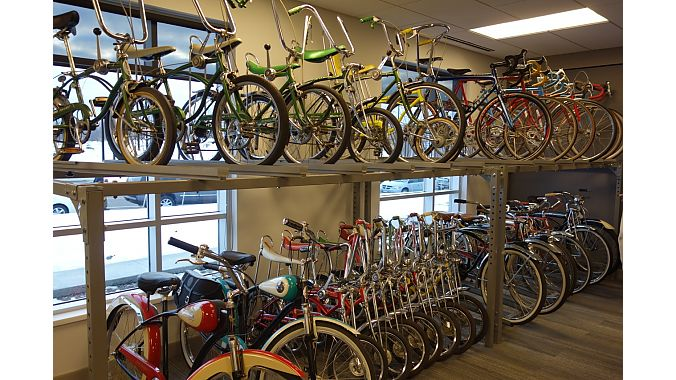 Some of the Hawkins family's bike collection in the lobby. Other bikes are scattered around the factory and hanging from its ceiling.