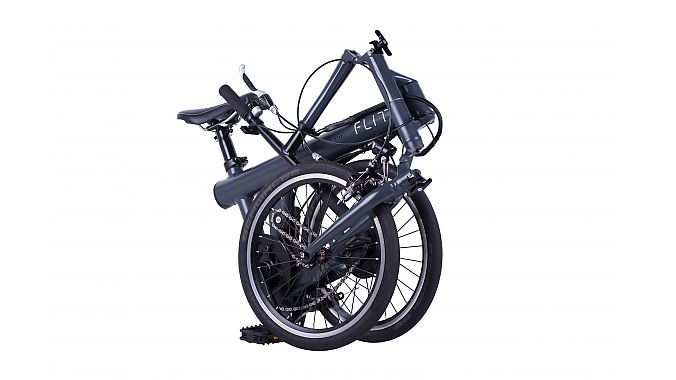 The Flit-16 is a 30.8-pound foldable commuter e-bike with a custom elastomer suspension and a 41.7-inch wheelbase.