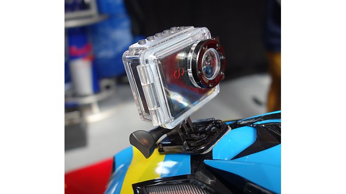 The CamOne helmet cam looks a lot like market leader GoPro's camera, but it has a few interesting features and a good price. Features include interchangeable lenses of 170-, 142-, and 96-degrees, full HD at 30 frames per second, manually adjustable focus, and a 1.5-inch display. Retail is 170 euros (about $220) complete with various mounts and attachments and a waterproof case.