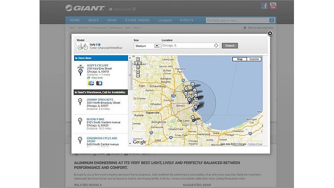 In this screen cap from Giant's website, availability for the company's popular Defy 5 road bike in a specific color combination is shown for dealers in the Chicago area, both in-store and in-warehouse.
