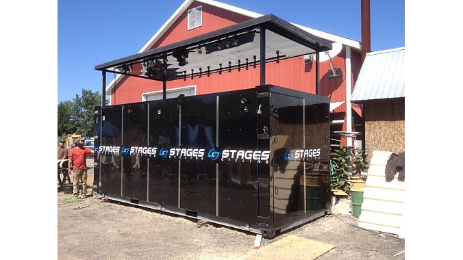 Stages' new show booth is built inside a shipping container.