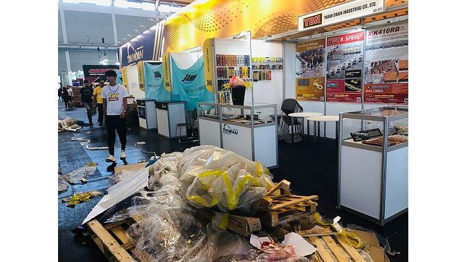 The mad dash to prepare for the opening of Eurobike was in full display. Photo: Dean Yobbi