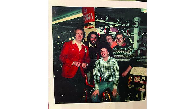 The crew in about 1980. from left: Uncle John Rooney; Pat Carullo; George Bennett (seated); Thomas Bennett; George G. Bennett (father of Tom and George).