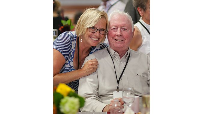 Sara Fortune and her father Phil Hendrickson at the Saris Cycling Group 25/40 Anniversary Celebration in 2014.
