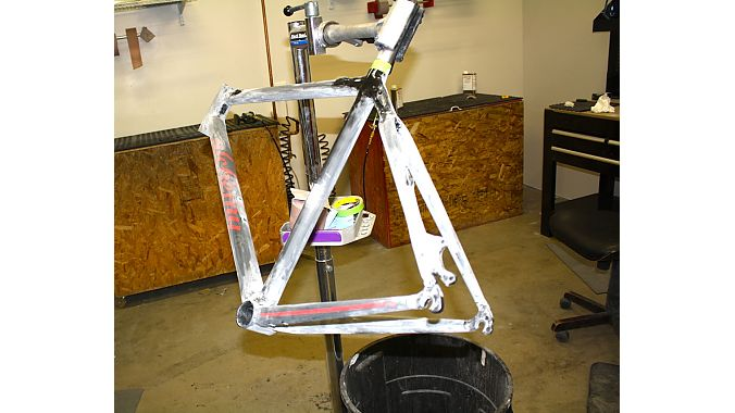 Matt Simpson's new personal frame, which will be on display at NAHBS, being readied for its final finishing steps on Wednesday.