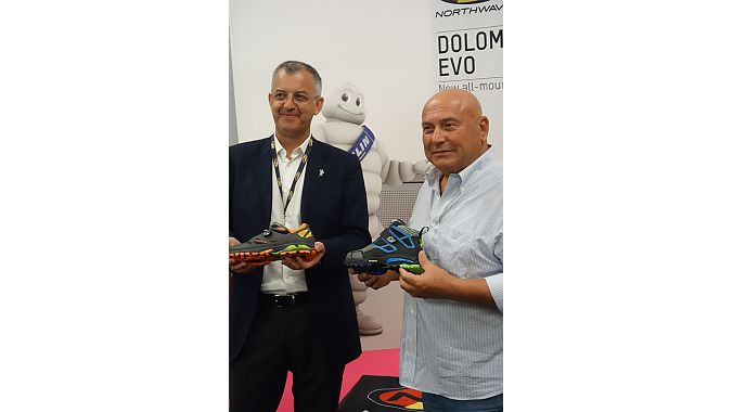 Michelin operating manager Ambrogio Merlo (left) and Northwave's founder and president Gianni Piva at Eurobike Wednesday.