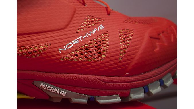 A closeup of the Michelin logo on the Spider 2 shoe.