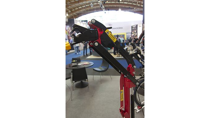 With all the e-bikes on display at Eurobike, vendors are also showing repair stands for the hefty bikes. This Minoura W150 is one of the simpler designs.