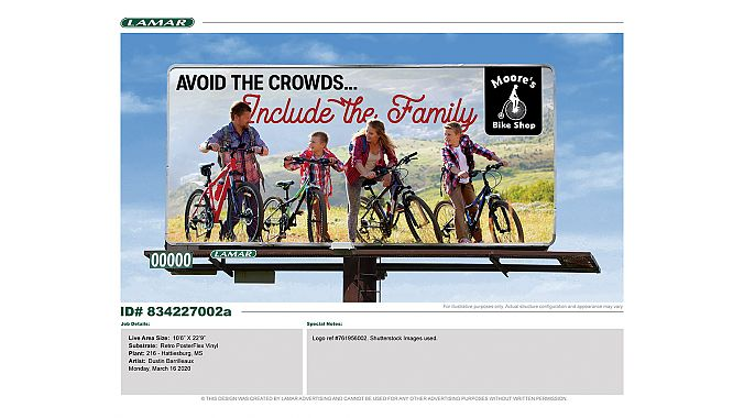 One of two Lamar Outdoor billboards James Moore will have to promote cycling.