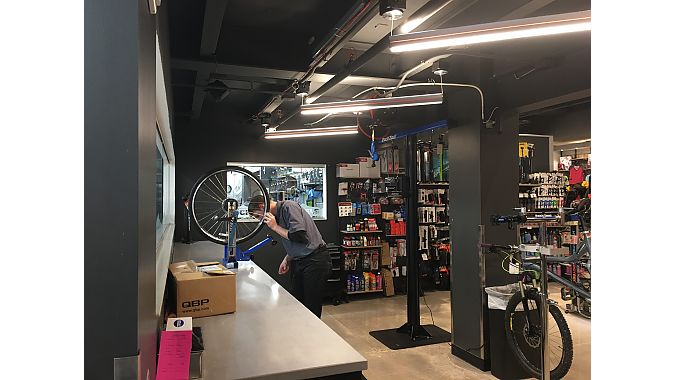 The bike tech area at Scheels' Colorado store.