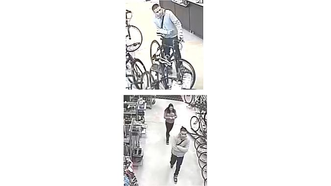 Security camera footage of alleged thieves at Sunrise Cyclery's Long Island location