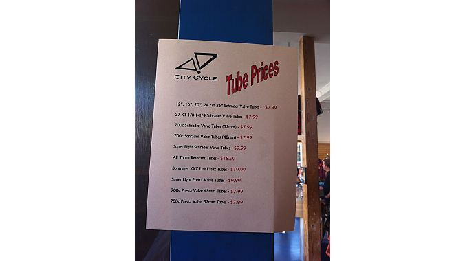 Tube prices at San Francisco's City Cycles on Thursday.