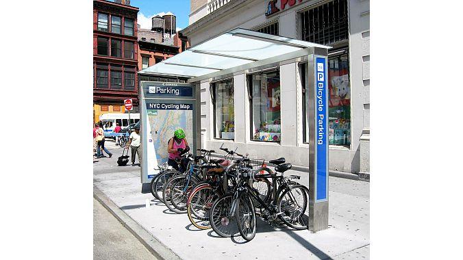 A Union Square bike parking shelter.