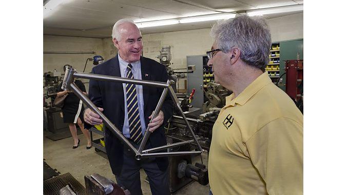Rep. Patrick Meehan at Cycle Sport in Media, Pennsylvania.