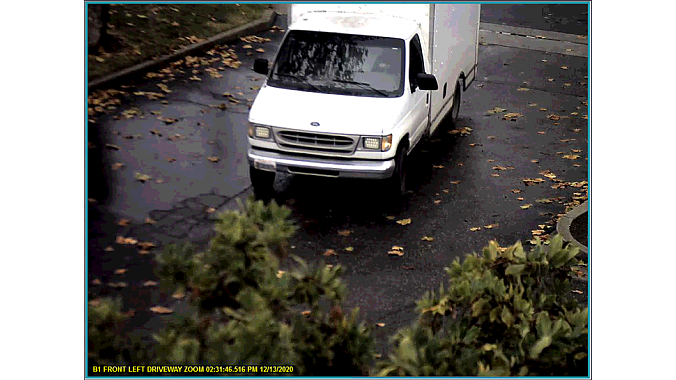 The van used has not been recovered. Still from video surveillance provided by Morgan Hill PD.