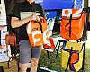 British bag maker Carradice debuted its new brand Upso at Demo Day. David Chadwick, managing director of Carradice and Upso, showed colorful bags made from upcycled lorry tarps. The bags will be available in the U.S. through Belmont Distribution later this year.