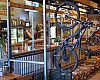 The HandleBar Café and Bike Shop has indoor bike parking. Marla Streb's husband, Mark Fitzgerald, did much of the build out and custom work.