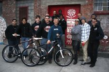Some of the people who built 100 Giant Revel 2 bicycles in early December as part of the RIDE NYC FORWARD initiative.
