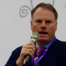 Burke speaking at Velo-city Global in Taipei on Monday.