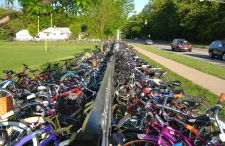 Packed bike parking outside a school during last year's chalenge.
