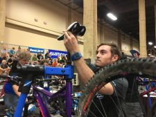 A contestant in the Mechanics Challenge at Interbike 2016.