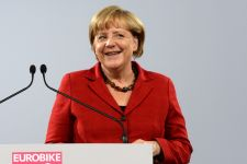 Angela Merkel at the show Wednesday. Eurobike photo.