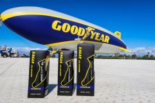 Goodyear introduced its bike tires at its air ship facility in California.