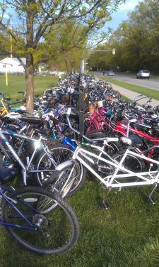 Overflow bike parking on Bay Middle School's front fence.