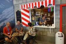 Specialized's 2013 Eurobike booth featured a Swiss-style coffee hut.