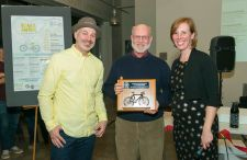 Fred Boykin (center) was recognized for his commitment to bicycle advocacy.