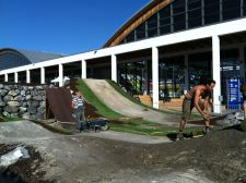 Eurobike 2012: Workers complete the pump track on Tuesday