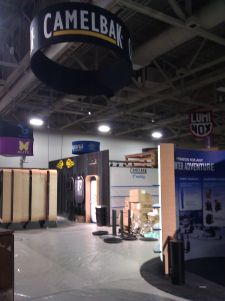 Camelbak's booth was under construction during setup Monday.