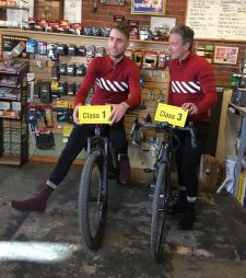 Taylor and Davis Phinney aboard e-bikes.