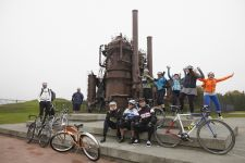 The gang celebrated the tour's completion at Gas Works Park, site of the former Seattle Gas Light Company gasification plant.