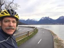 Burke riding recently near Mavic's headquarters in Annecy, France.