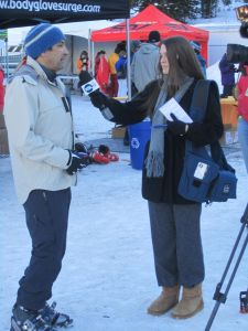 Kenji Haroutunian explains OR's decision to remain in Salt Lake City to a local television news reporter.