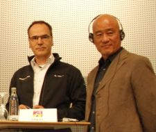 Mathias Seidler (left) and Tony Lo at the presentation Tuesday. BRAIN photo.