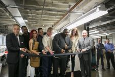 Ribbon cutting at the Shinola leather factory.