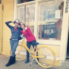 Tockman (right) with a friend and her new Public Bike.