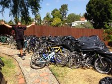 Mike Simmons with donated bikes bound for Africa.