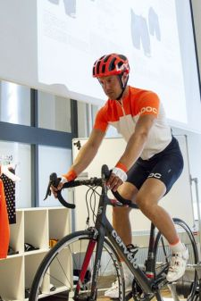 A model demonstrates POC's new Octal road helmet and road apparel.